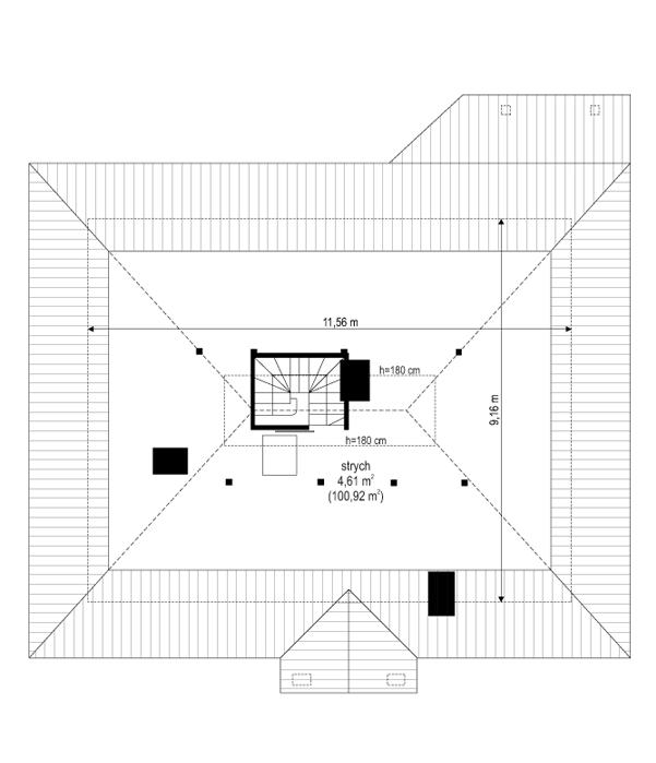 Cztery kąty 4 - rzut strychu odbicie lustrzane