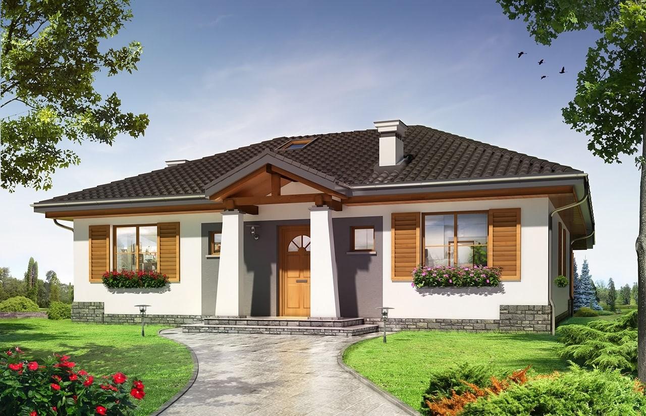 Projekt domu Cztery kąty 4 - wizualizacja frontowa odbicie lustrzane