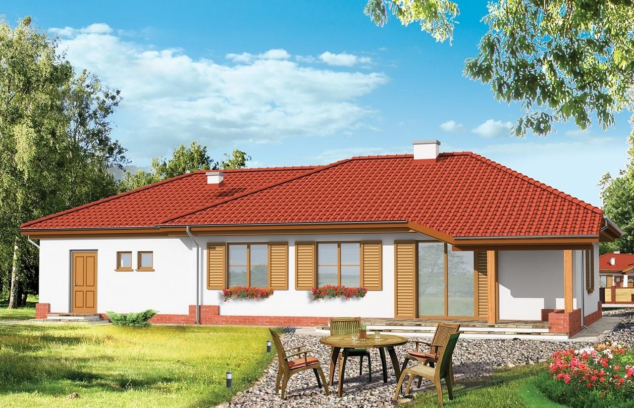 Projekt domu Cztery kąty - wizualizacja tylna
