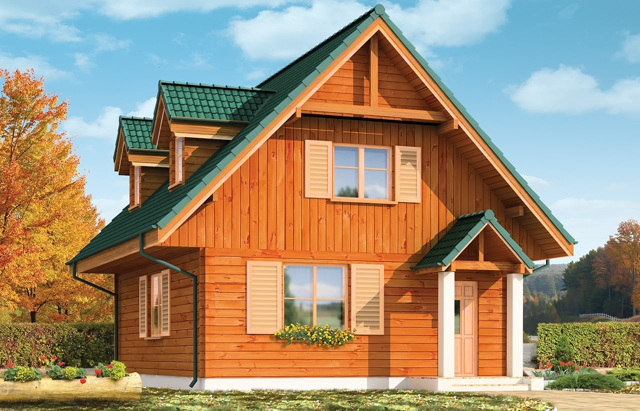 Projekt domu D03 Grześ Drewniany - wizualizacja frontowa