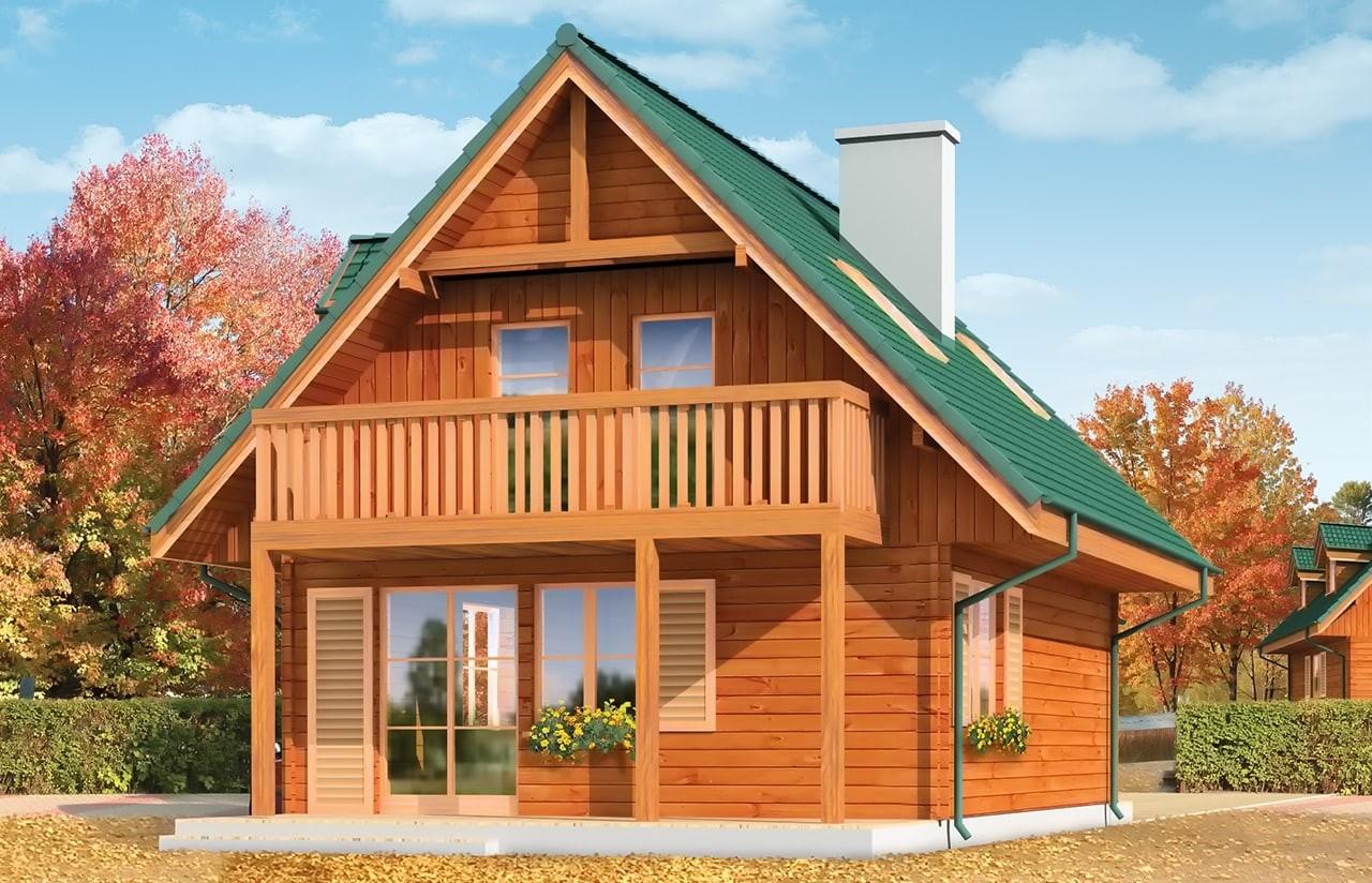 Projekt domu D03 Grześ Drewniany - wizualizacja tylna odbicie lustrzane