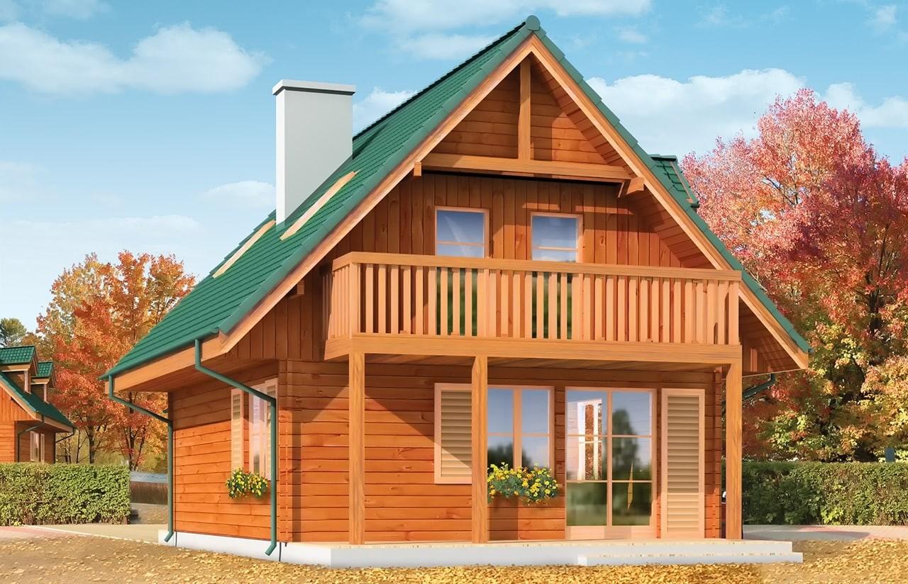 Projekt domu D03 Grześ Drewniany - wizualizacja tylna
