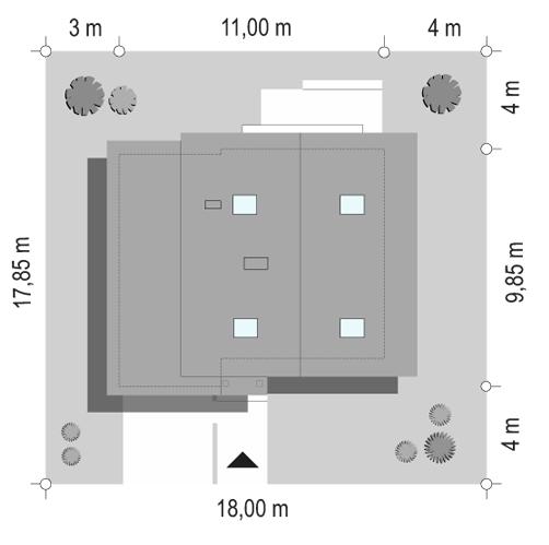 D03 z garażem - sytuacja odbicie lustrzane