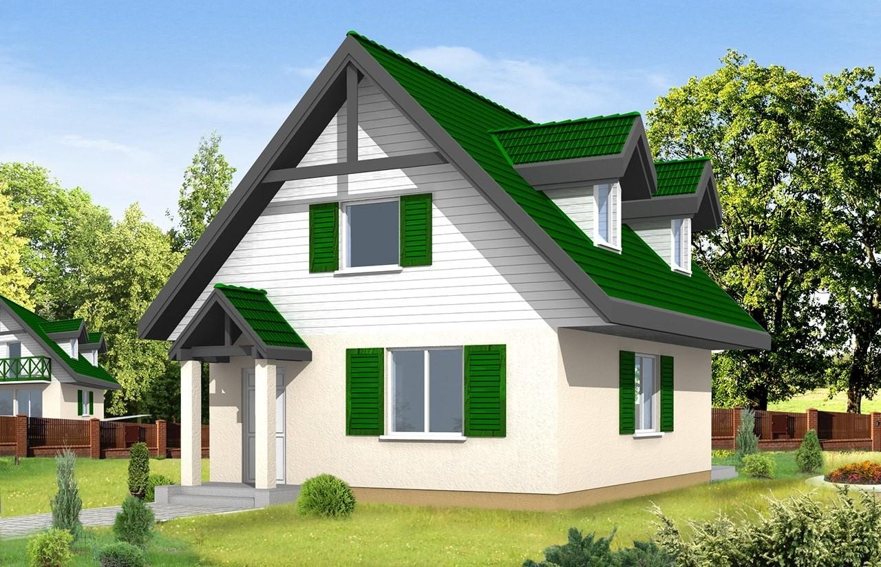 Projekt domu D03 - wizualizacja frontowa odbicie lustrzane