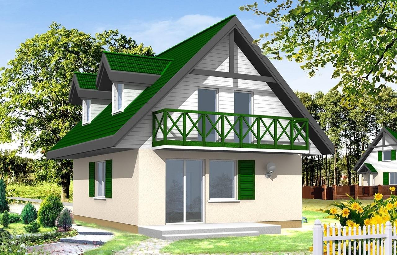Projekt domu D03 - wizualizacja tylna odbicie lustrzane