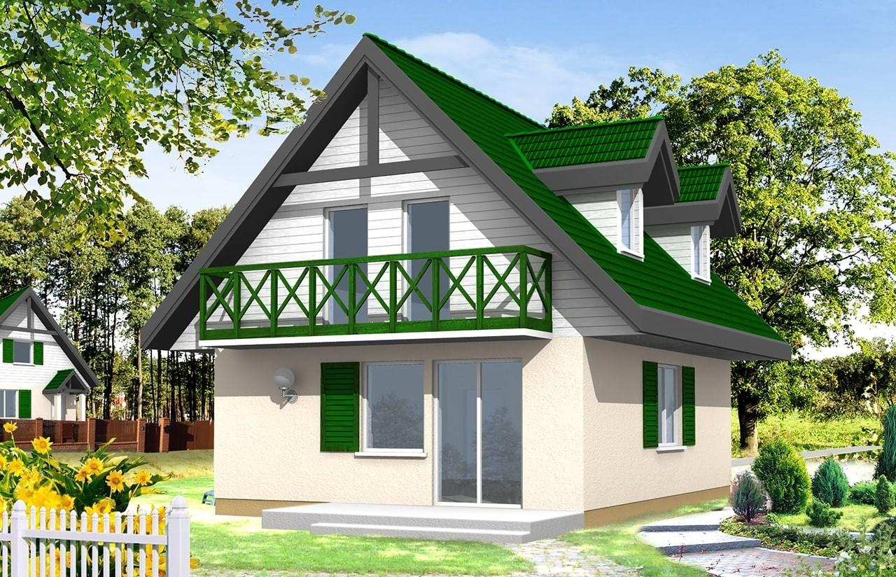 Projekt domu D03 - wizualizacja tylna
