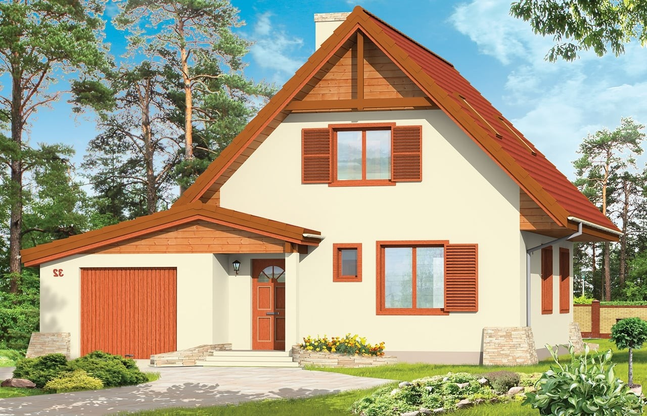 Projekt domu D03 z Garażem - wizualizacja frontowa odbicie lustrzane