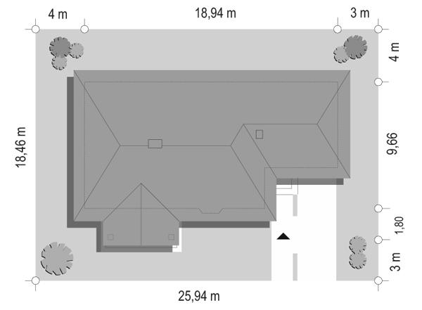 D05 z garażem - sytuacja odbicie lustrzane