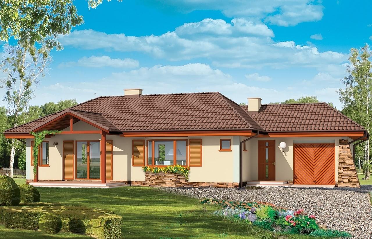 Projekt domu D05 z garażem - wizualizacja frontowa odbicie lustrzane