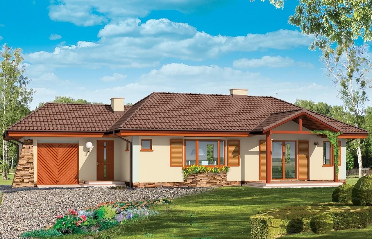 Projekt domu D05 z garażem - wizualizacja frontowa