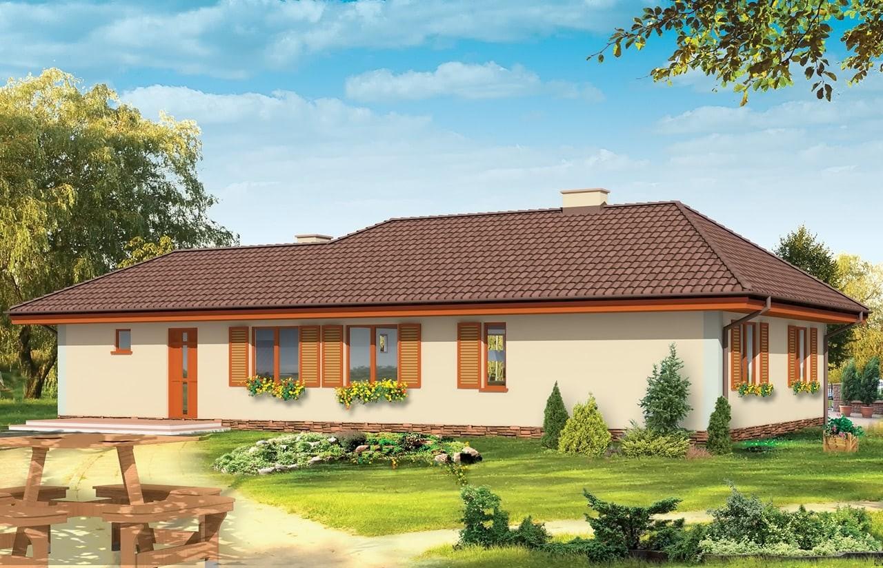 Projekt domu D05 z garażem - wizualizacja tylna odbicie lustrzane