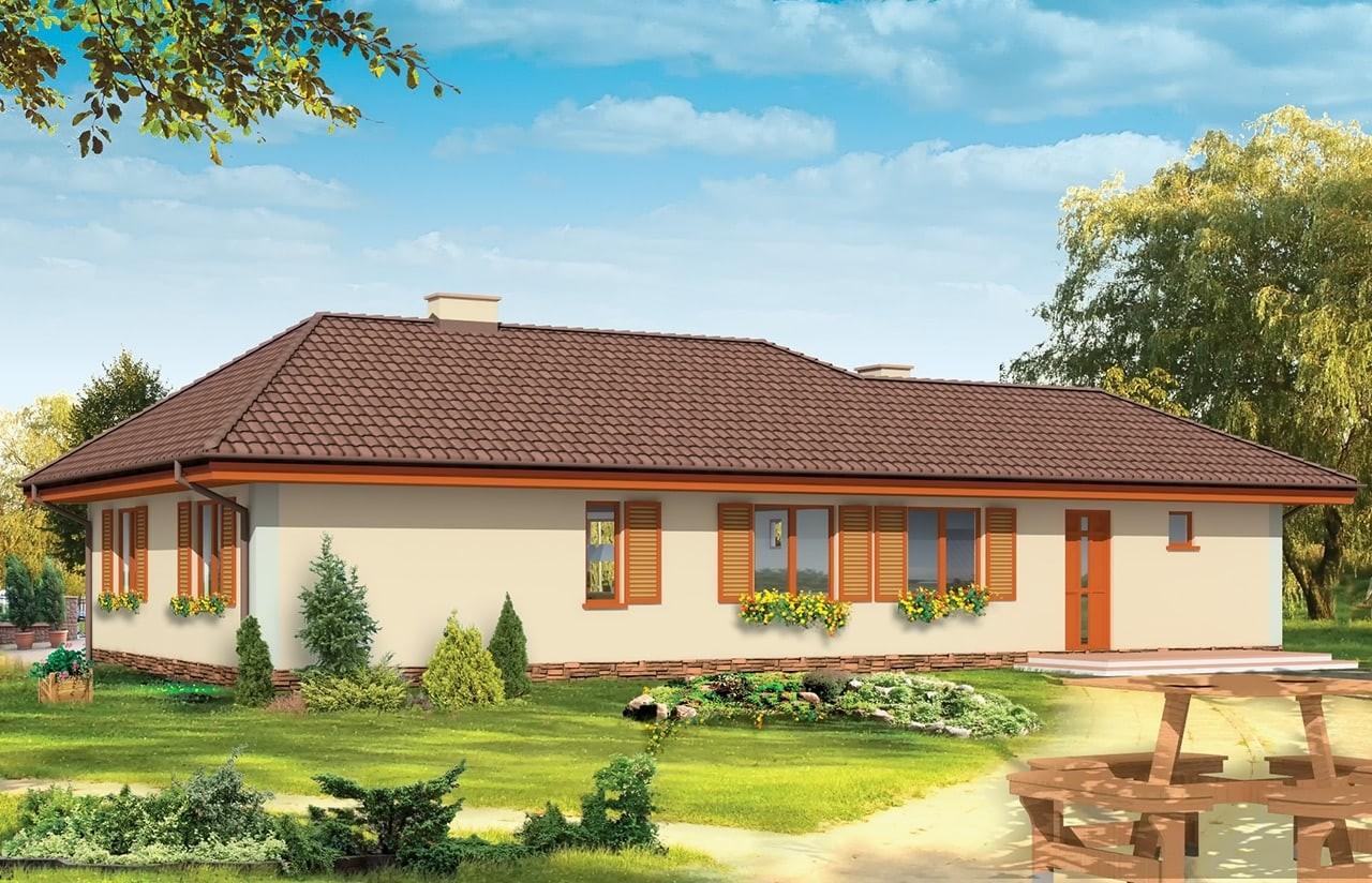 Projekt domu D05 z garażem - wizualizacja tylna