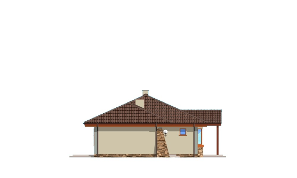 D05 z garażem - elewacja boczna