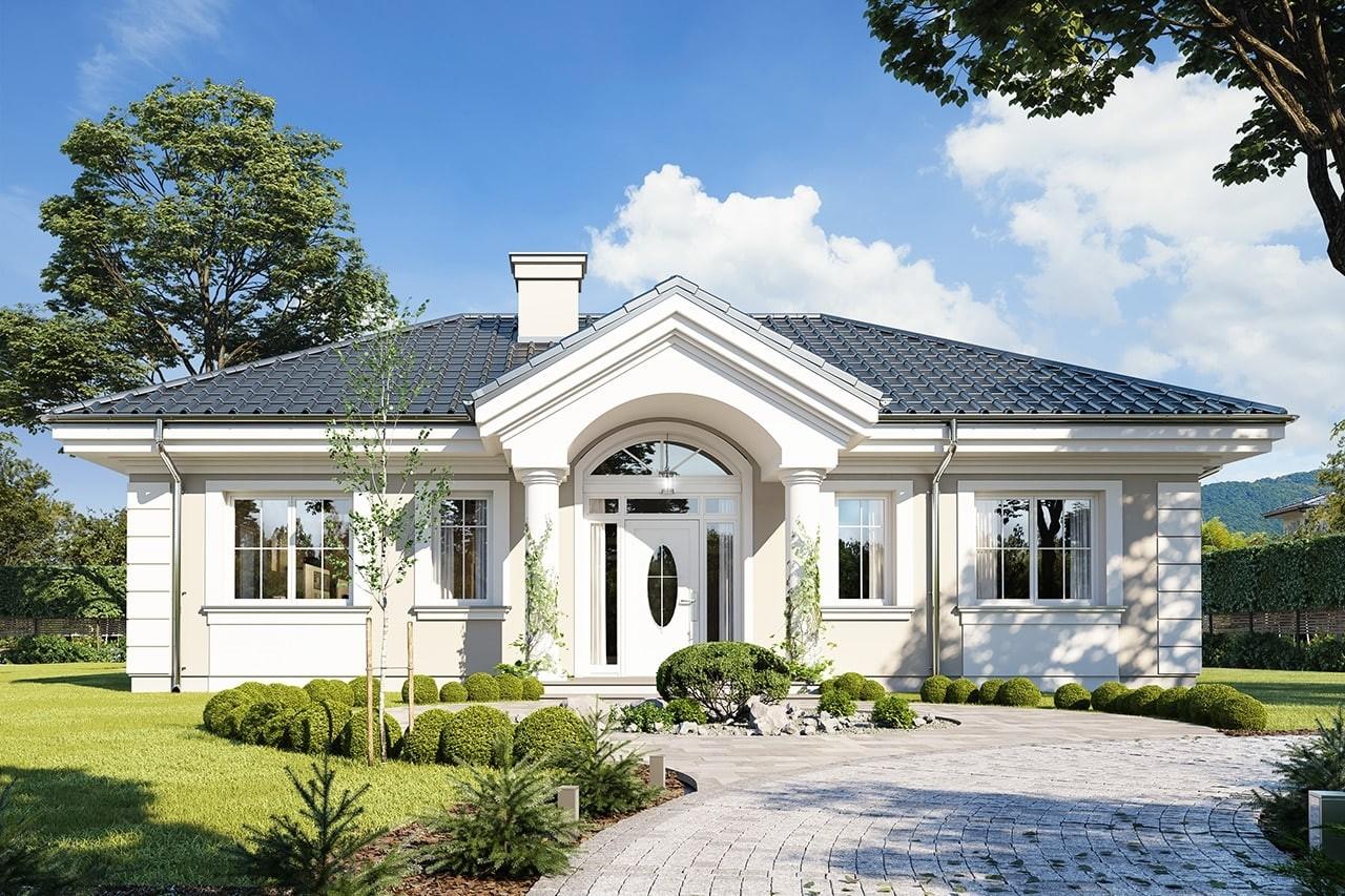 Projekt domu Dom na dębowej - wizualizacja frontowa odbicie lustrzane