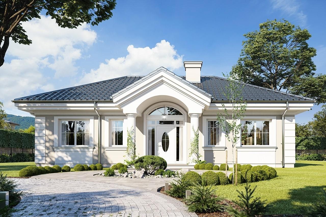 Projekt domu Dom na dębowej - wizualizacja frontowa