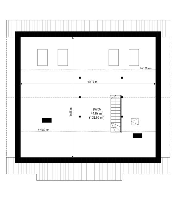 Dom dla trojga - rzut strychu odbicie lustrzane