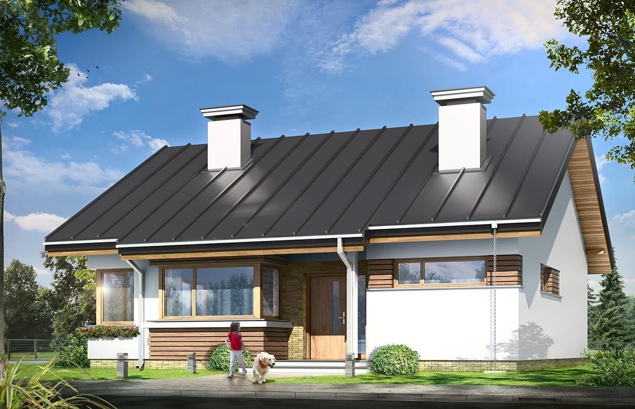 Projekt domu Dom dla trojga - wizualizacja frontu odbicie lustrzane