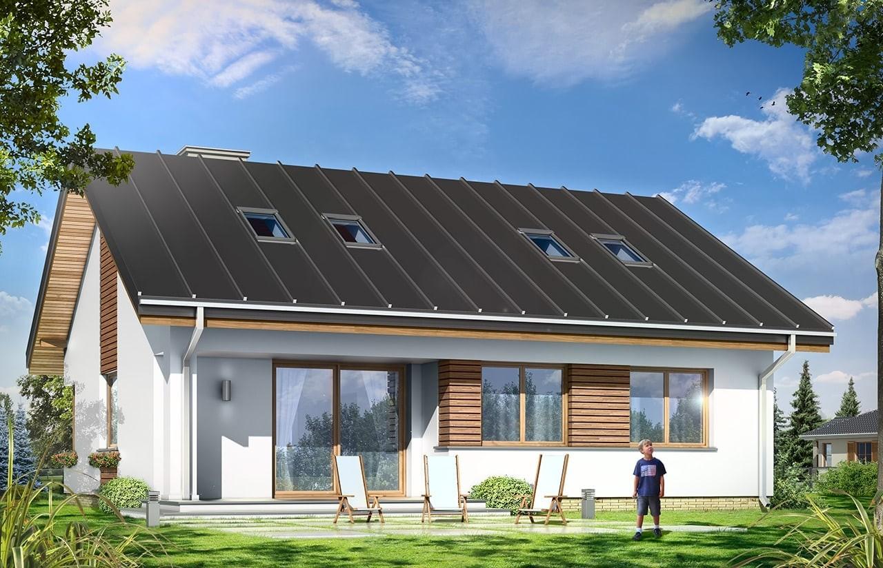 Projekt domu Dom dla trojga - wizualizacja tylna