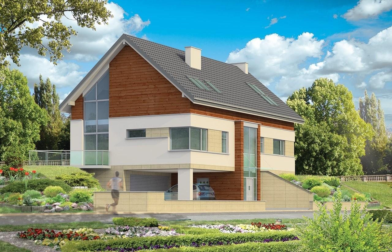 Projekt domu Dom na górce - wizualizacja frontu odbicie lustrzane