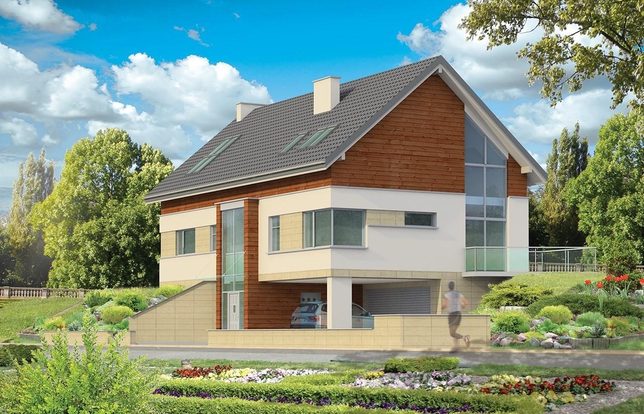 Projekt domu Dom na górce - wizualizacja frontu