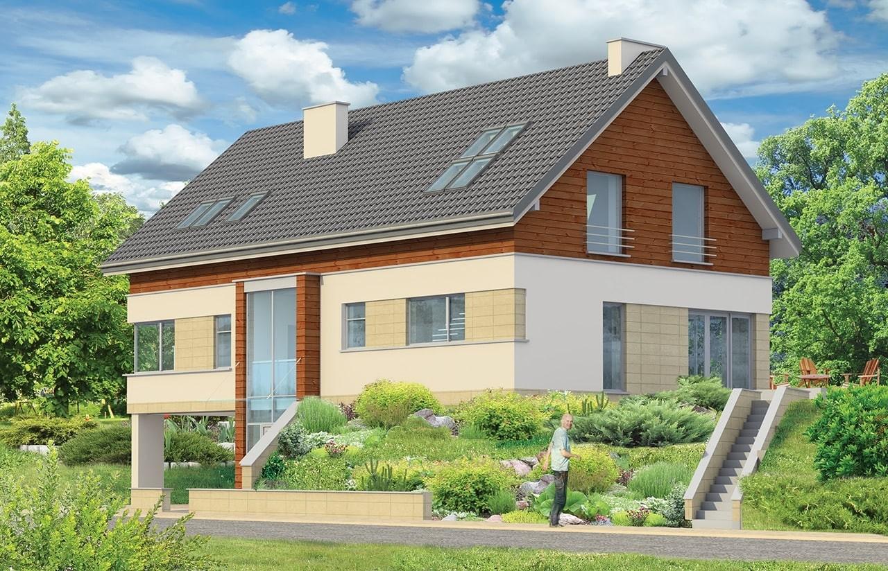 Projekt domu Dom na górce - wizualizacja tylna odbicie lustrzane