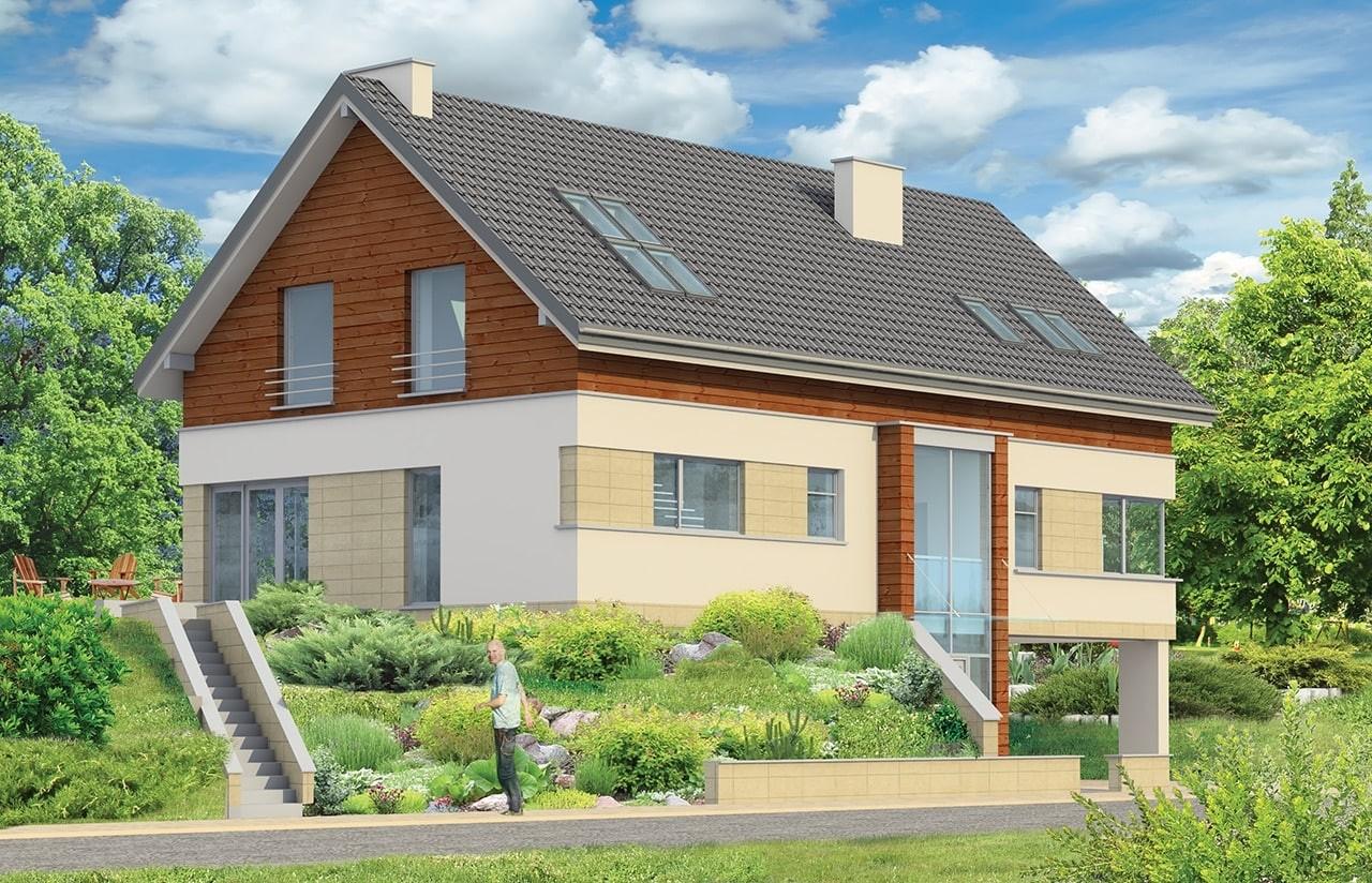 Projekt domu Dom na górce - wizualizacja tylna