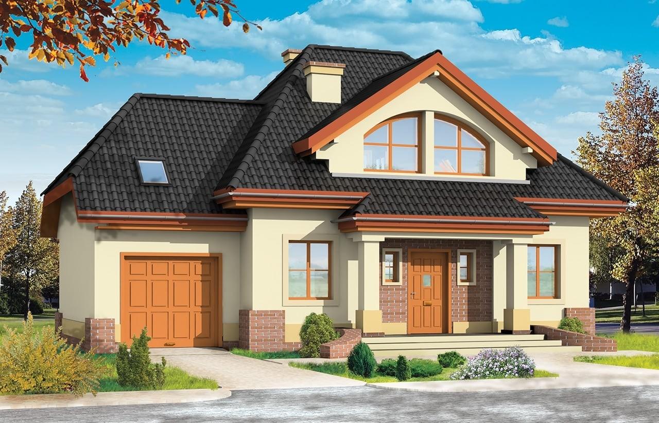 Projekt domu Dom na medal 2 - wizualizacja frontu odbicie lustrzane