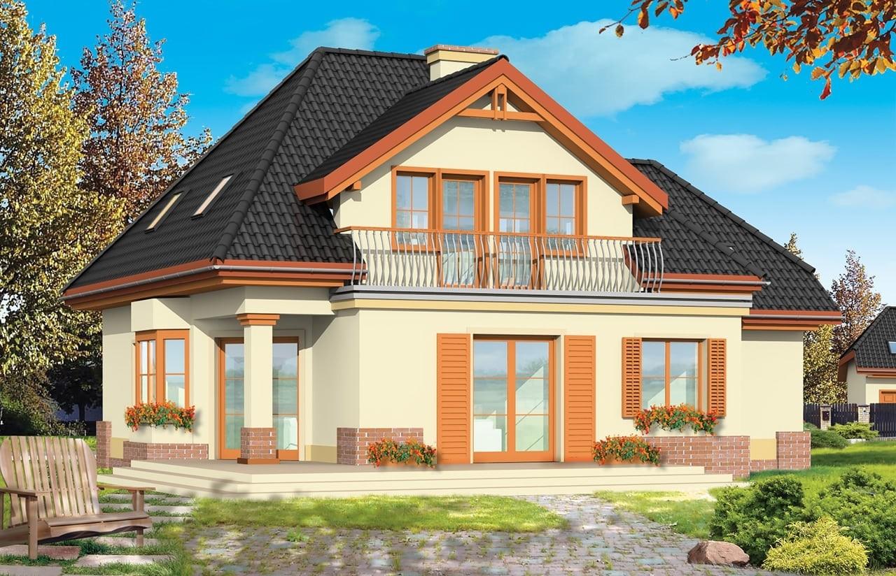 Projekt domu Dom na medal 2 - wizualizacja tylna odbicie lustrzane