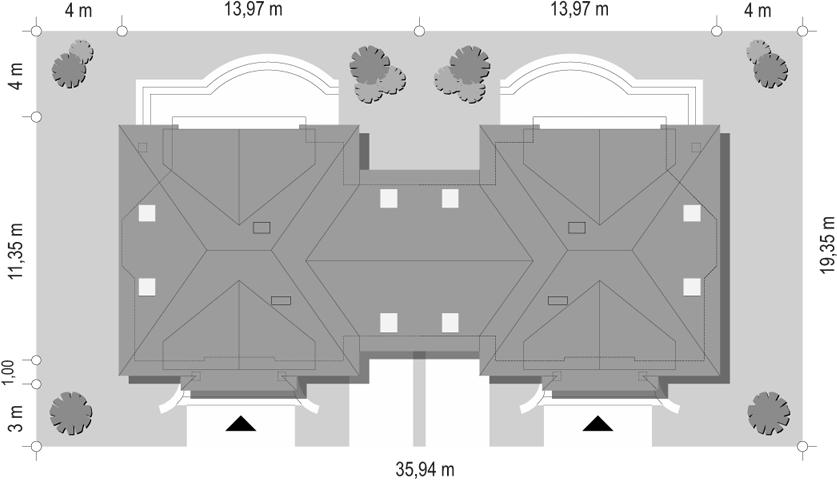 Dom na medal - bliźniak - sytuacja odbicie lustrzane
