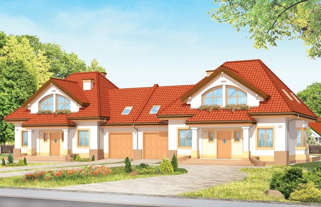Projekt domu Dom na medal - bliźniak  - wizualizacja frontu odbicie lustrzane