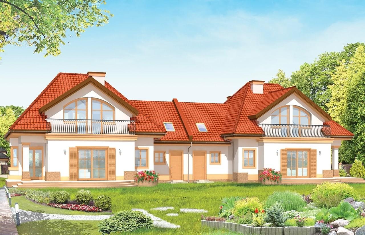 Projekt domu Dom na medal - bliźniak - wizualizacja tylna odbicie lustrzane