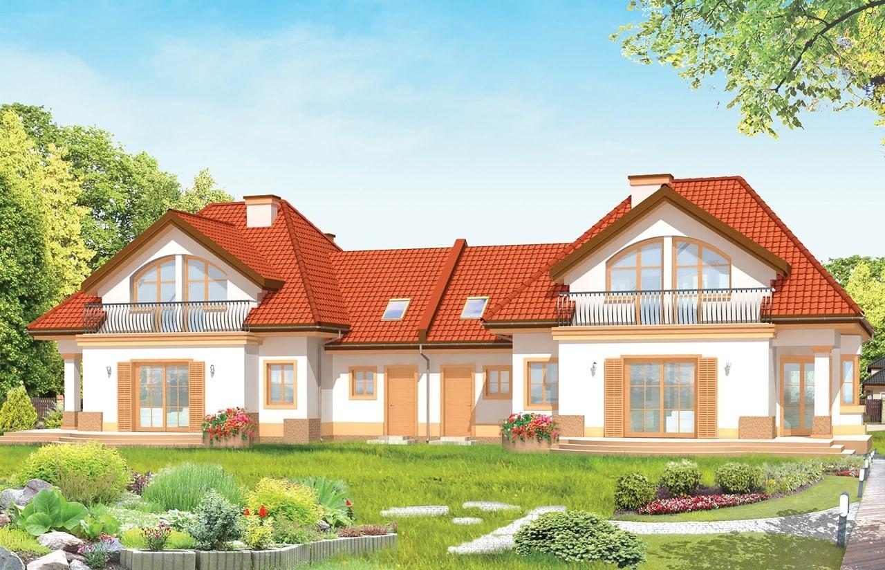 Projekt domu Dom na medal - bliźniak - wizualizacja tylna