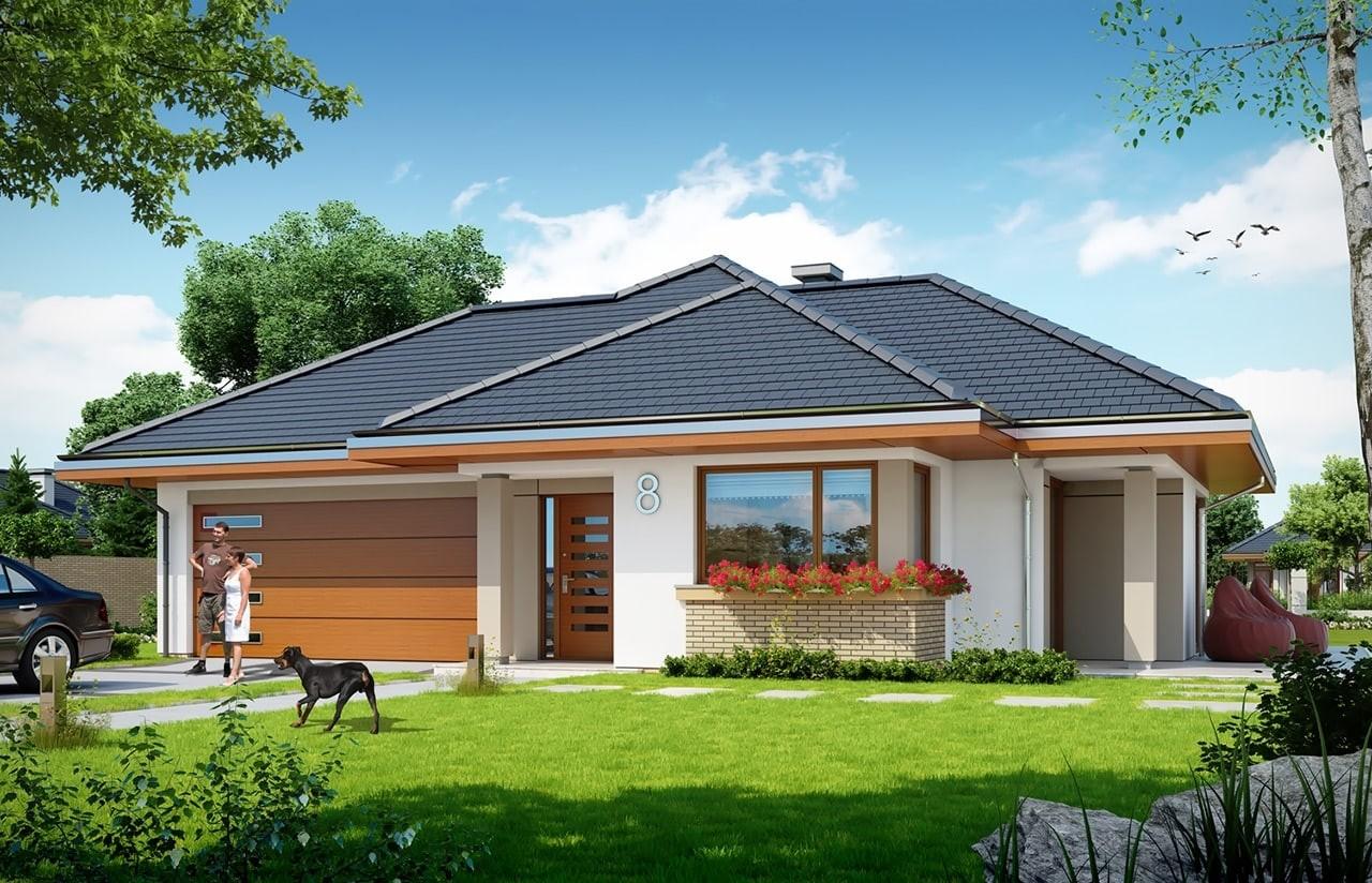 Projekt domu Dom na miarę 2 - wizualizacja frontowa odbicie lustrzane