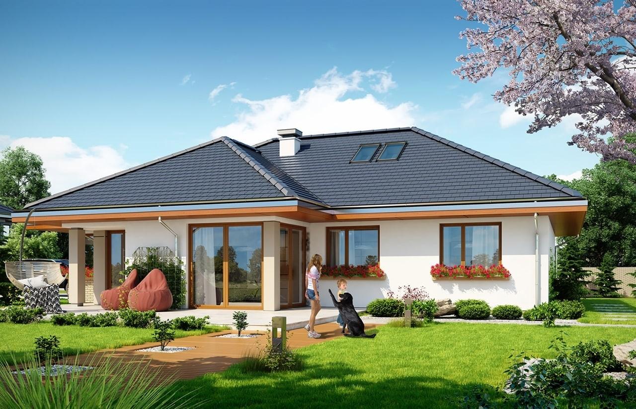 Projekt domu Dom na miarę 2 - wizualizacja tylna odbicie lustrzane