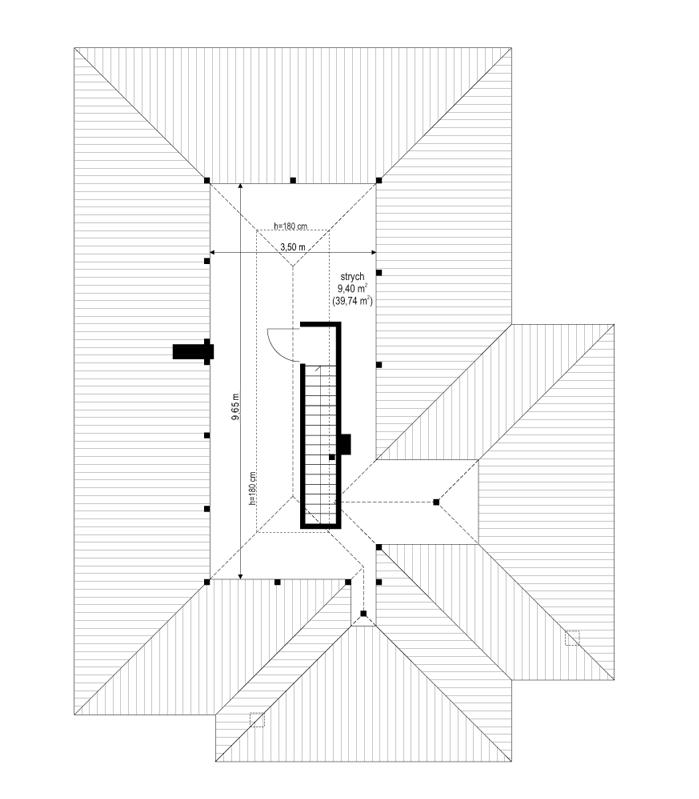 Dom na miarę - rzut strychu odbicie lustrzane