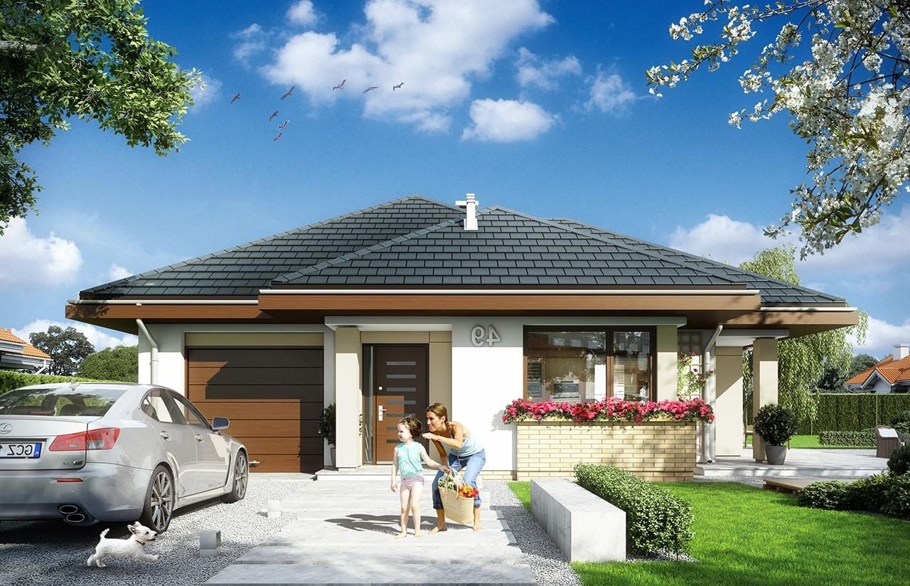 Projekt domu Dom na miarę - wizualizacja frontu odbicie lustrzane