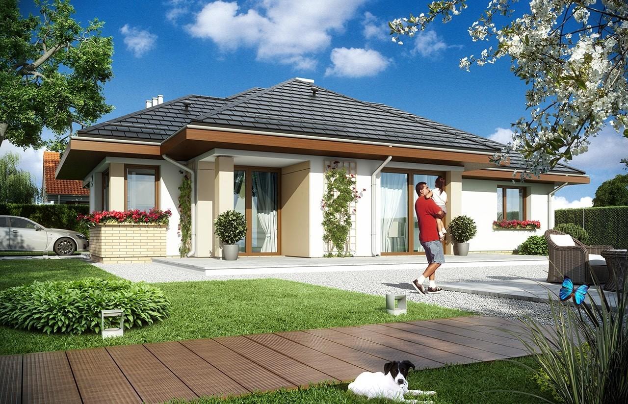 Projekt domu Dom na miarę - wizualizacja tylna odbicie lustrzane