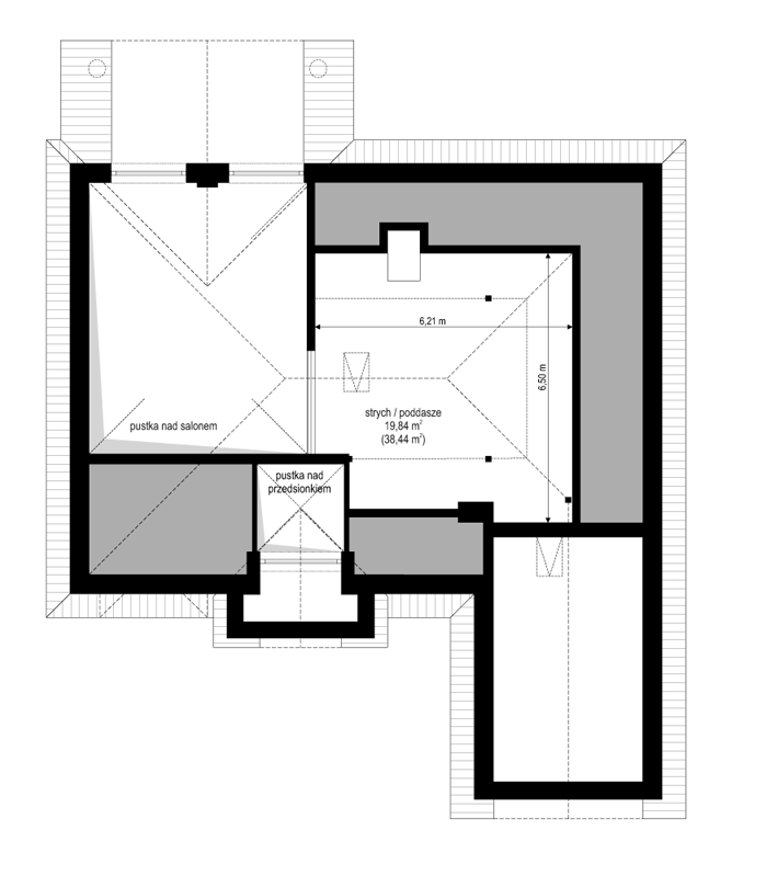 Dom na parkowej 2 - rzut strychu odbicie lustrzane