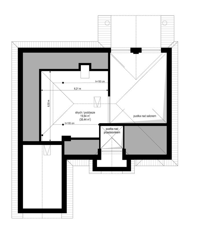 Dom na parkowej 2 - rzut strychu