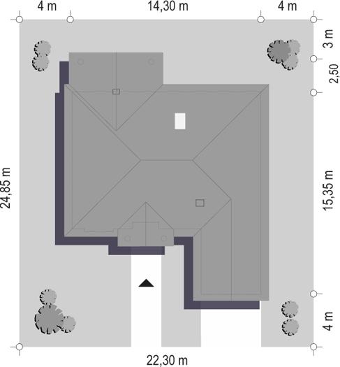 Dom na parkowej 2 - sytuacja odbicie lustrzane