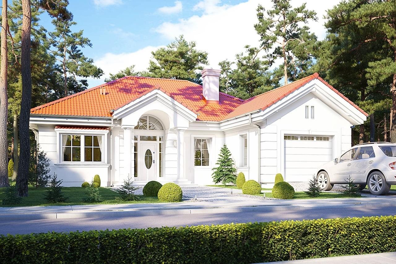 Projekt domu Dom na parkowej 2 - wizualizacja frontowa odbicie lustrzane