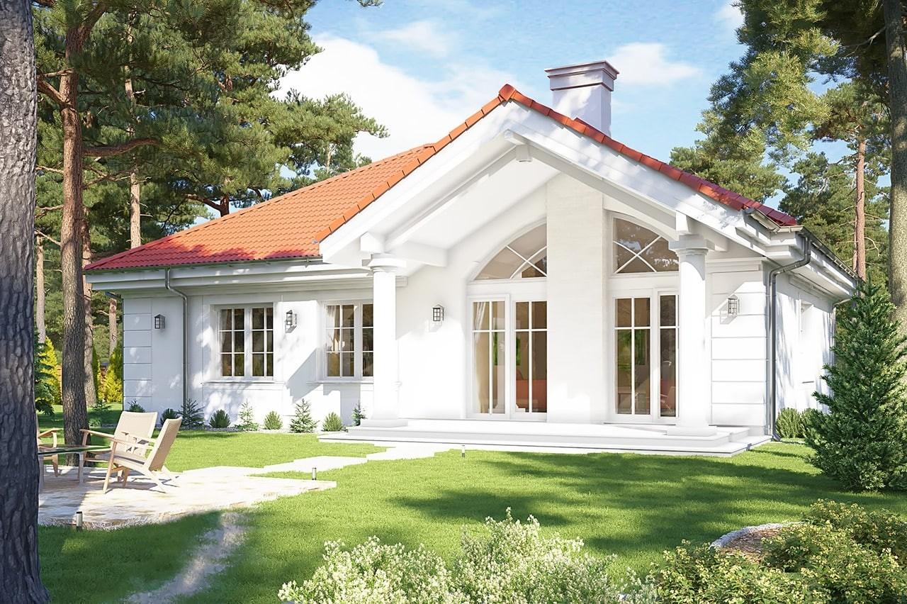 Projekt domu Dom na parkowej 2 - wizualizacja tylna odbicie lustrzane