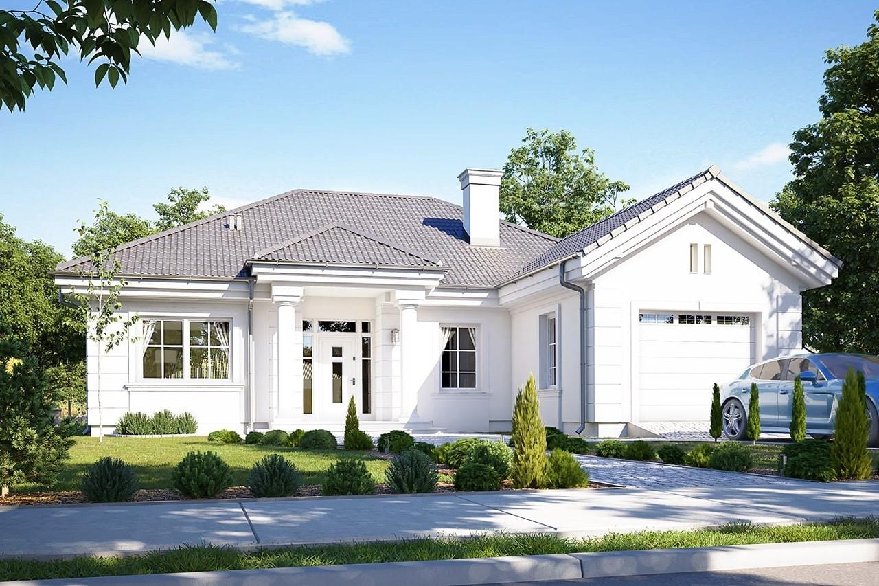 Projekt domu Dom na Parkowej 3 - wizualizacja frontowa odbicie lustrzane