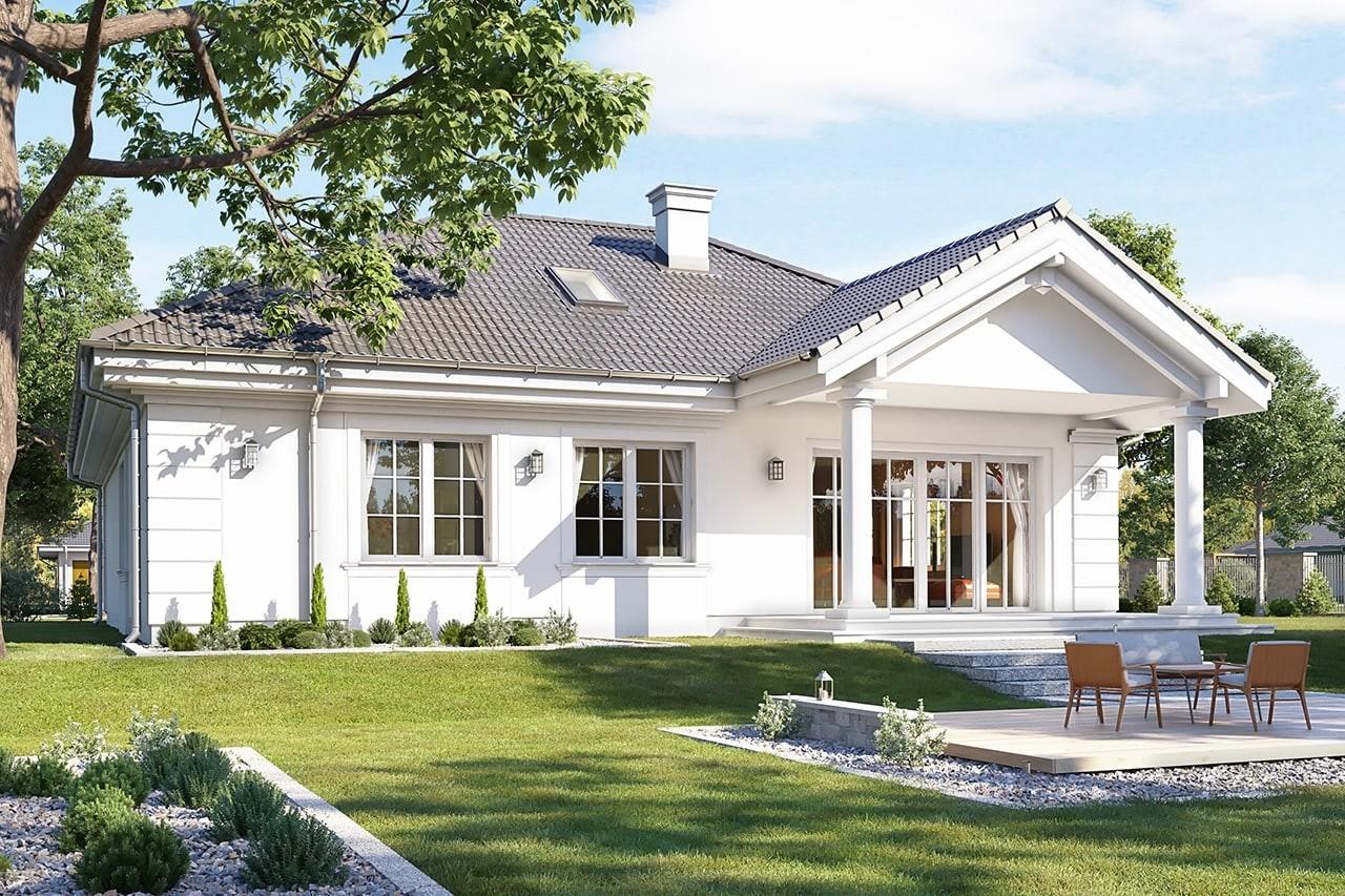 Projekt domu Dom na Parkowej 3 - wizualizacja tylna odbicie lustrzane