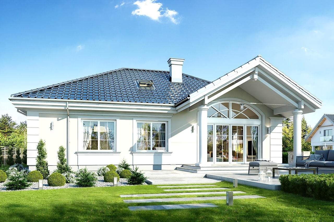 Projekt domu Dom na parkowej 4 - wizualizacja tylna odbicie lustrzane