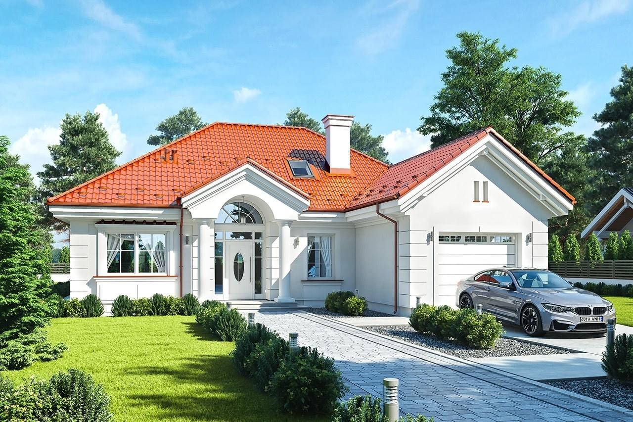Projekt domu Dom na Parkowej 5 - wizualizacja frontu odbicie lustrzane