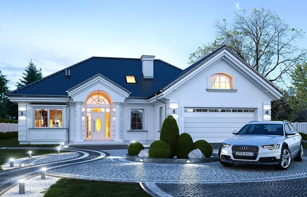 Projekt domu Dom na Parkowej 6 - wizualizacja frontu odbicie lustrzane