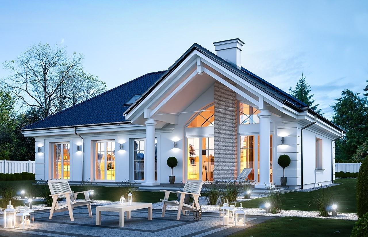 Projekt domu Dom na Parkowej 6 - wizualizacja tylna odbicie lustrzane