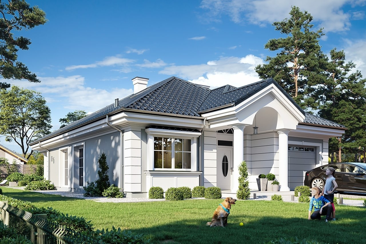 Projekt domu Dom na Parkowej 7 A - wizualizacja frontu odbicie lustrzane