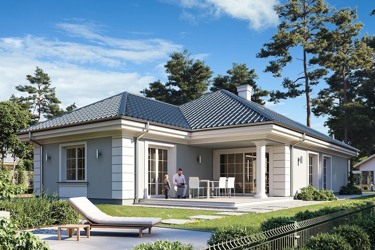 Projekt domu Dom na Parkowej 7 A - wizualizacja tylna odbicie lustrzane